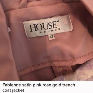 Fabienne pink satin rose gold trench coat jacket